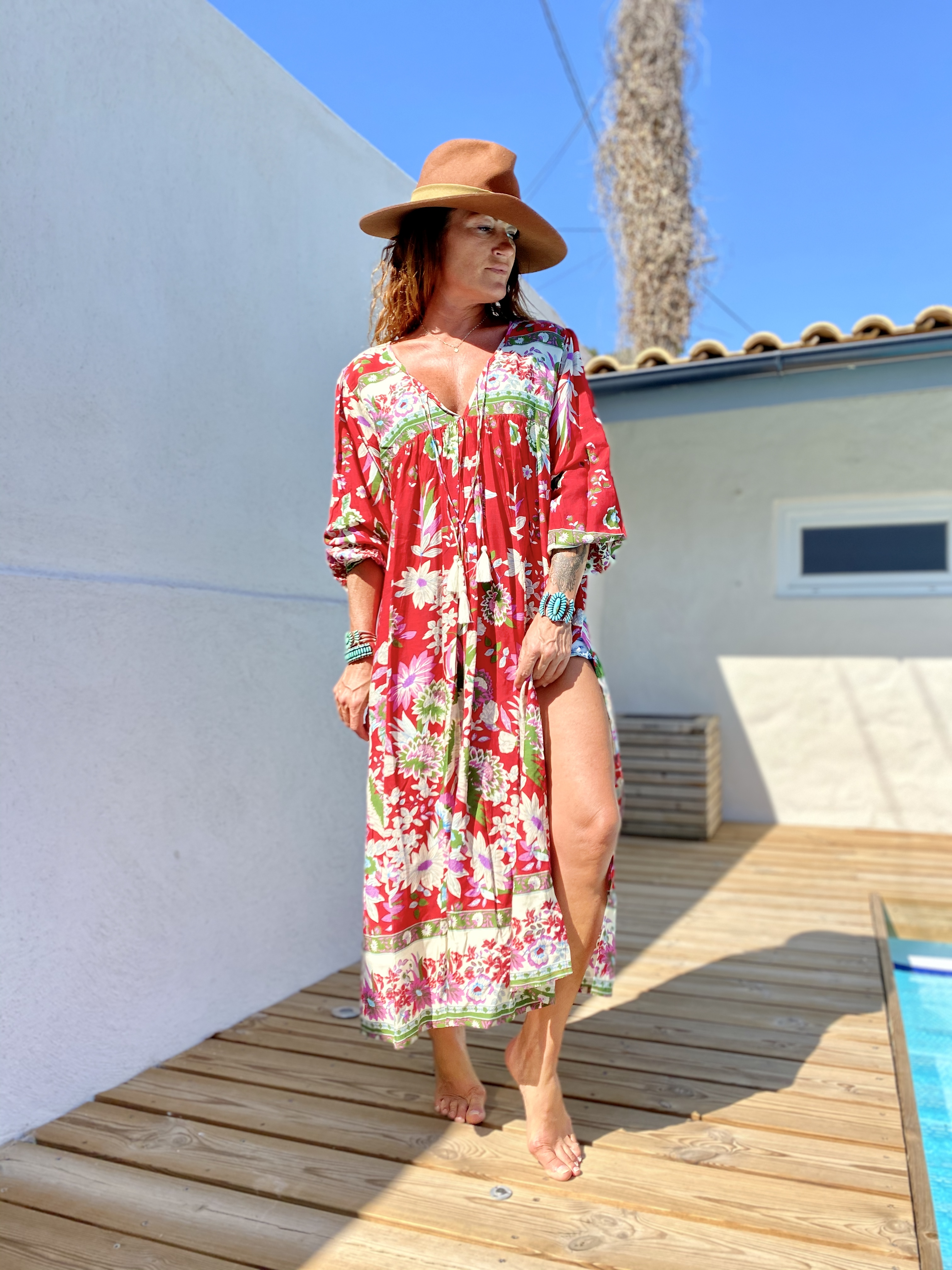 ROBE POMPONS FLAMINGO ROUGE