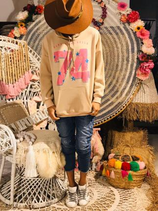 SWEAT CAPUCHE 74 ROSE