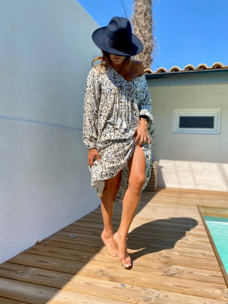 ROBE POMPONS LEOPARD