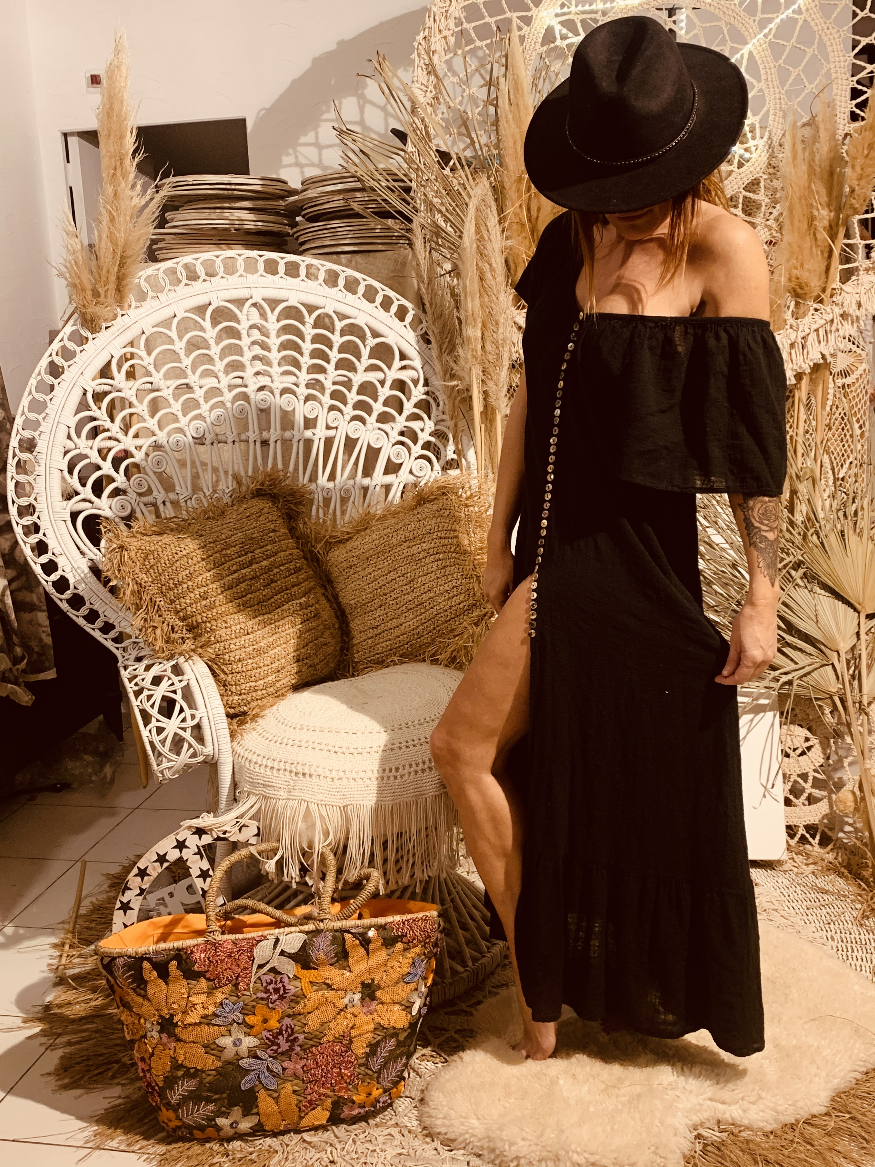 Robe Maxi Long Dress Oversize Bouton Wild Pure Noire